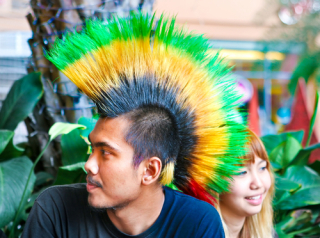 Teenager with mohawk