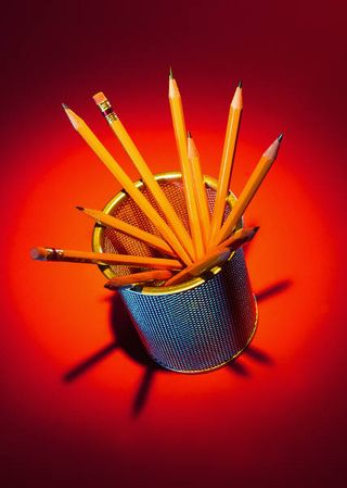 Pencils in a holder