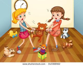 Girls-fighting-over-teddy-bear-illustration